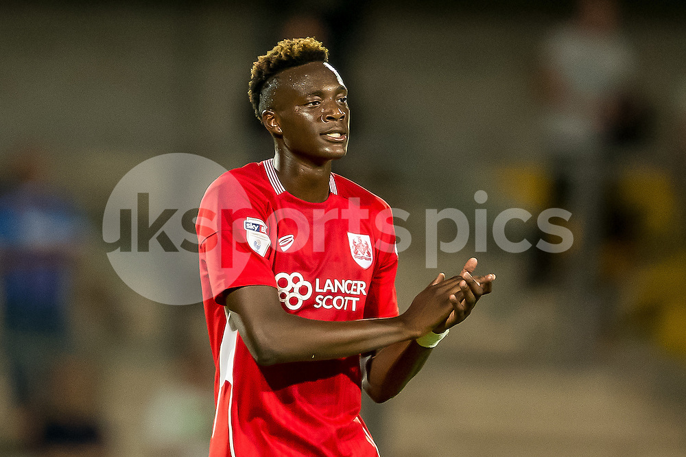 Tammy Abraham of Bristol City during the EFL Cup second round match between Scunthorpe United and Bristol City at Glanford Park, Scunthorpe, England on 23 August 2016. Photo by James Williamson.