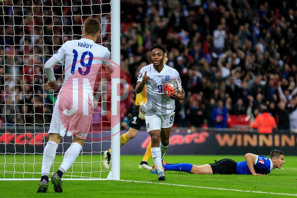 Goal, Raheem Sterling of England scores,England 2-0 Estonia - Mandatory byline: Jason Brown/JMP - 07966 386802 - 09/10/2015- FOOTBALL - Wembley Stadium - London, England - England v Estonia - Euro 2016 Qualifying - Group E