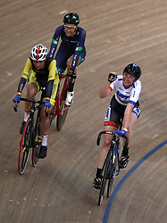 Katie Archibald (right) celebrates winning the women's points race during Round One of the 2017/18 Revolution Series at Lee Valley Velo Park, London.