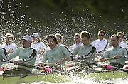 Photo. © Peter Spurrier/Intersport  Images.13/03/2004  - Rowing -Cambridge Blue Boat v Leander.Cambridge [LtoR] Cambridge president Wayne Pommen, Steffen Buschbacher, Andrew Shannon and Sebastien Mayer, power through the rough water , as they round Hammersmith Bend.[Mandatory Credit Peter Spurrier/ Intersport Images] Varsity: Boat Race [Mandatory Credit: Peter Spurrier/Intersport Images] . Rough Water and Spray. Rough, Choppy, Water, Conditions.