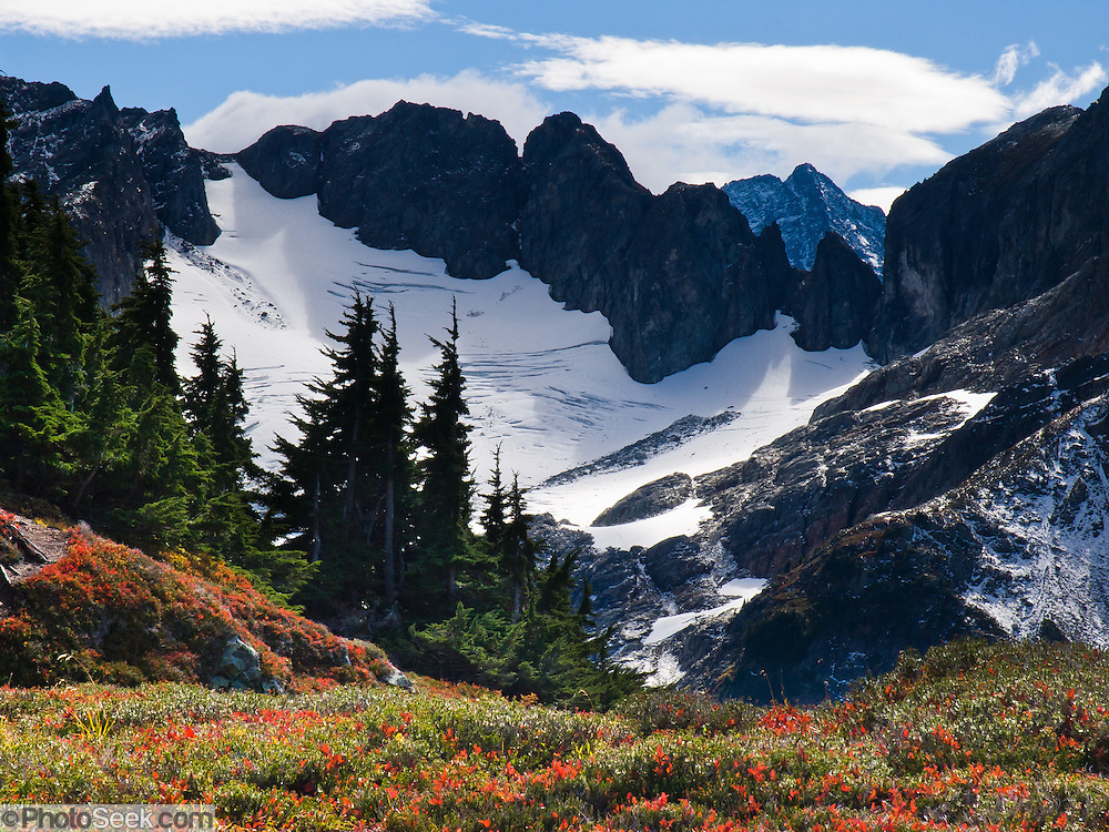 Hike to Cascade Pass and Stehekin Valley  in North Cascades National Park, Washington, USA.