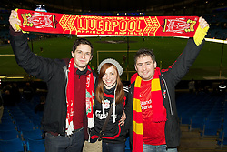 11.01.2012, Etihad Stadion, Manchester, ENG, Carling Cup, Manchester City vs FC Liverpool, Halbfinale, im Bild The Liverpool fans Jack Taylor, Kathrina Edwards and Steve Finch from Bedfordshire before the football match of English Carling Cup, Halffinal, between Manchester City and FC Liverpool at Etihad Stadium, Manchester, United Kingdom on 2012/01/11. EXPA Pictures © 2012, PhotoCredit: EXPA/ Propagandaphoto/ David Rawcliff..***** ATTENTION - OUT OF ENG, GBR, UK *****