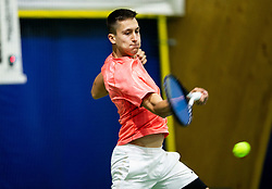Bor Muzar Schweiger playing final match during Slovenian men's doubles tennis Championship 2019, on December 29, 2019 in Medvode, Slovenia. Photo by Vid Ponikvar/ Sportida