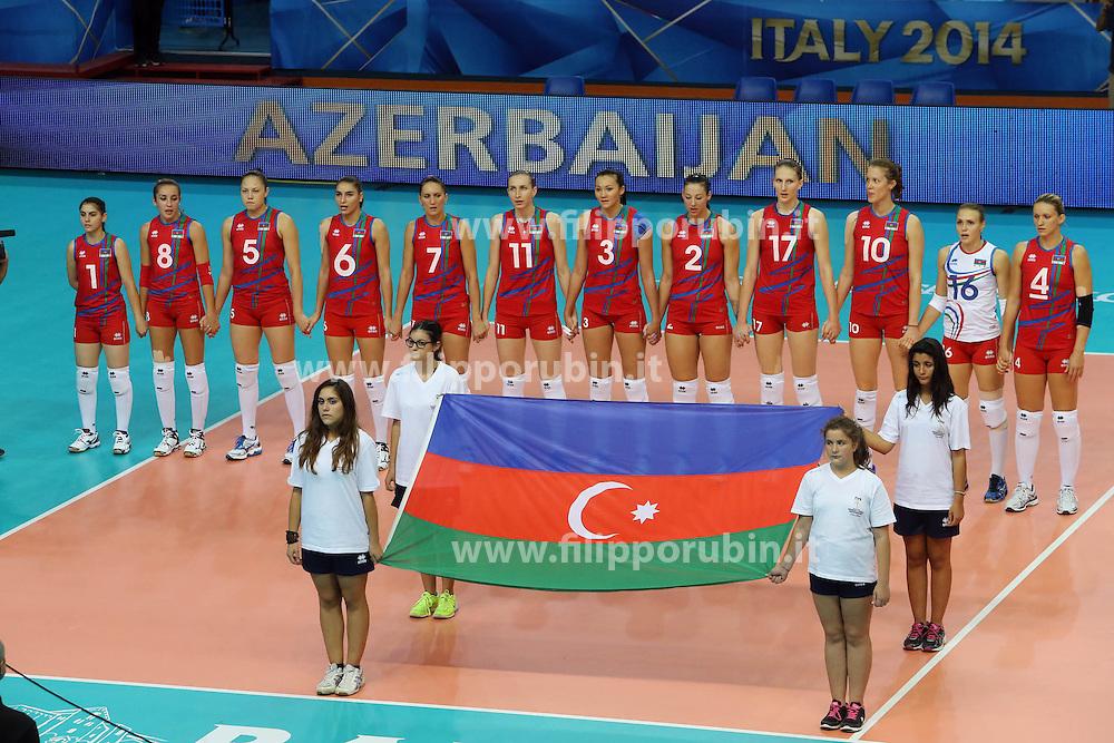 Azerbaijan listen to his national anthem