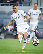 FC Dallas defender Matt Hedges (24) during a MLS soccer match against the LAFC in Los Angeles, Thursday, May 16, 2019. LAFC defeated FC Dallas 2-0.  (Ed Ruvalcaba/Image of Sport)