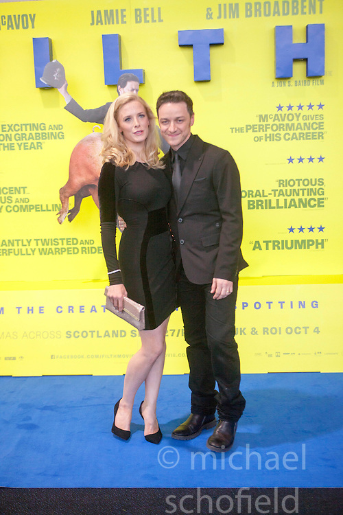 Shauna Macdonald and James McAvoy.<br /> Edinburgh hosts the World Premiere of Filth at the Omni cinema.<br /> &copy;Michael Schofield.