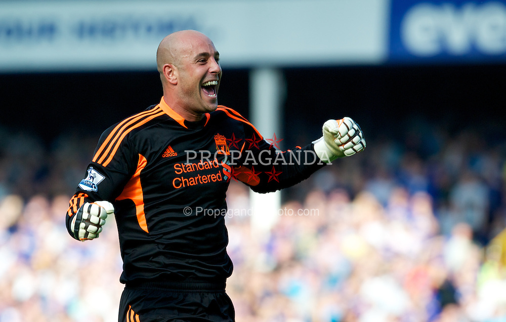 LIVERPOOL, ENGLAND - Saturday, October 1, 2011: Liverpool's goalkeeper Jose Reina celebrates the second goal against Everton during the Premiership match at Goodison Park. (Pic by David Rawcliffe/Propaganda)