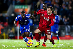 Nampalys Mendy of Leicester City goes past Roberto Firmino, Naby Keita and Xherdan Shaqiri of Liverpool - Mandatory by-line: Robbie Stephenson/JMP - 30/01/2019 - FOOTBALL - Anfield - Liverpool, England - Liverpool v Leicester City - Premier League