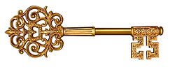 Ornate, gold master key on white with clipping path