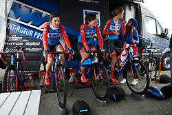 WNT Rotor Pro Cycling try to warm up at Healthy Ageing Tour 2019 - Stage 4A, a 14.4km individual time trial starting and finishing in Winsum, Netherlands on April 13, 2019. Photo by Sean Robinson/velofocus.com