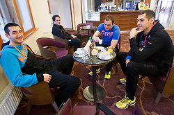 Dragan Gajic, Uros Zorman and Nenad Bilbija at training camp of Slovenian Handball National team before World Cup 2013 in Spain, on December 28, 2012 in Hotel Dobrava, Zrece, Slovenia. (Photo By Vid Ponikvar / Sportida.com)