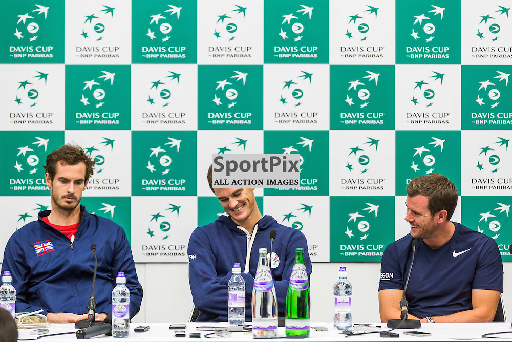 Andy and Jamie Murray during the press conference after the Davis Cup Semi-final between Great Britian and Australia (c) ROSS EAGLESHAM | Sportpix.co.uk
