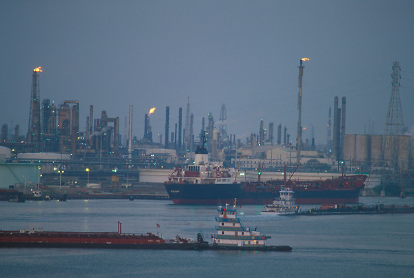 Ships passing in the evening at the Port of Houston