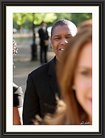 Denzel Washington at Nelson Mandelas Birthday in hyde park A3 Museum-quality Archival signed Framed Print (Limited Edition of 25)