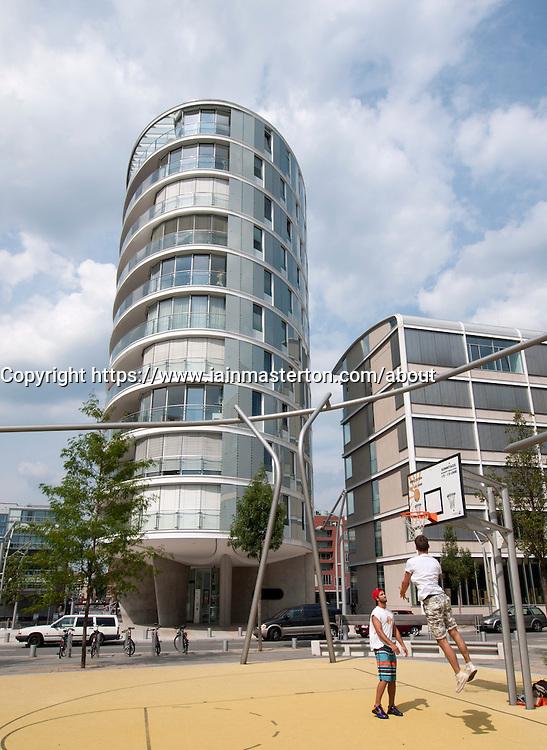 Modern apartment buildings at Vasco Da Gamma Platz in new Hafencity property development in Hamburg Germany