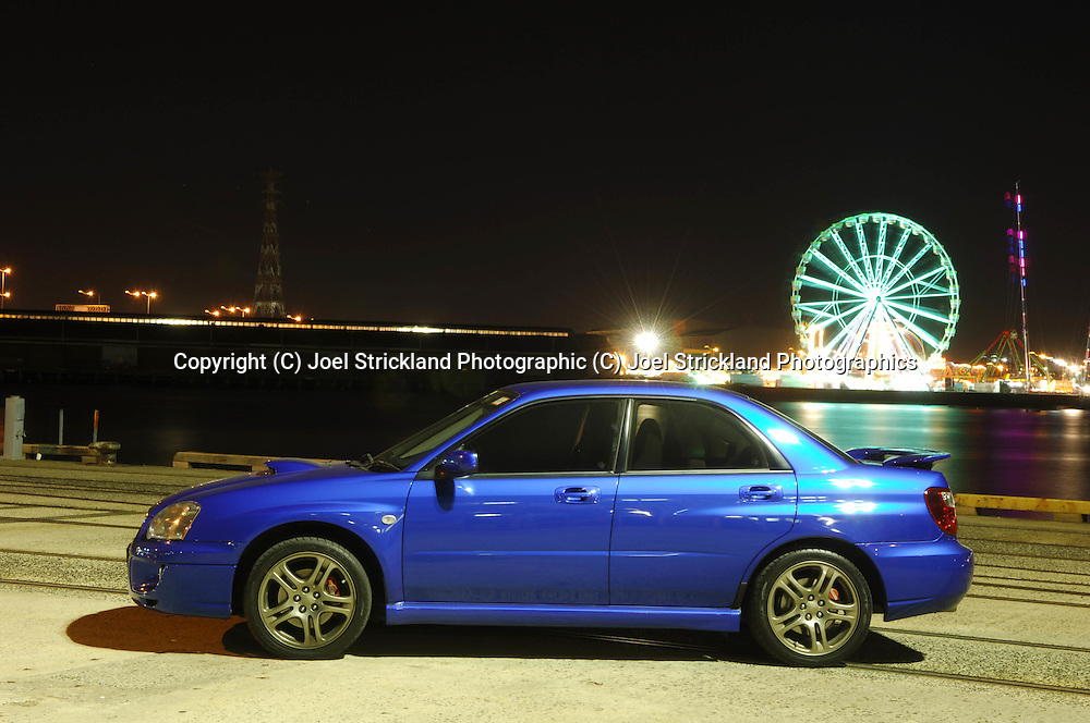 (C) Joel Strickland Photographics. 2004 MY05 Subaru Impreza WRX - World Rally Blue <br /> Shot on location in Port Melbourne, Victoria<br /> 24th March 2006