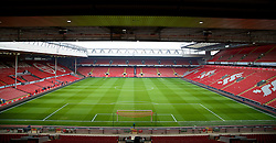 LIVERPOOL, ENGLAND - Sunday, March 30, 2014: A general view of Liverpool's Anfield Stadium, from the Spion Kop showing the Anfield Road stand opposite, before the Premiership match against Tottenham Hotspur at Anfield. (Pic by David Rawcliffe/Propaganda)