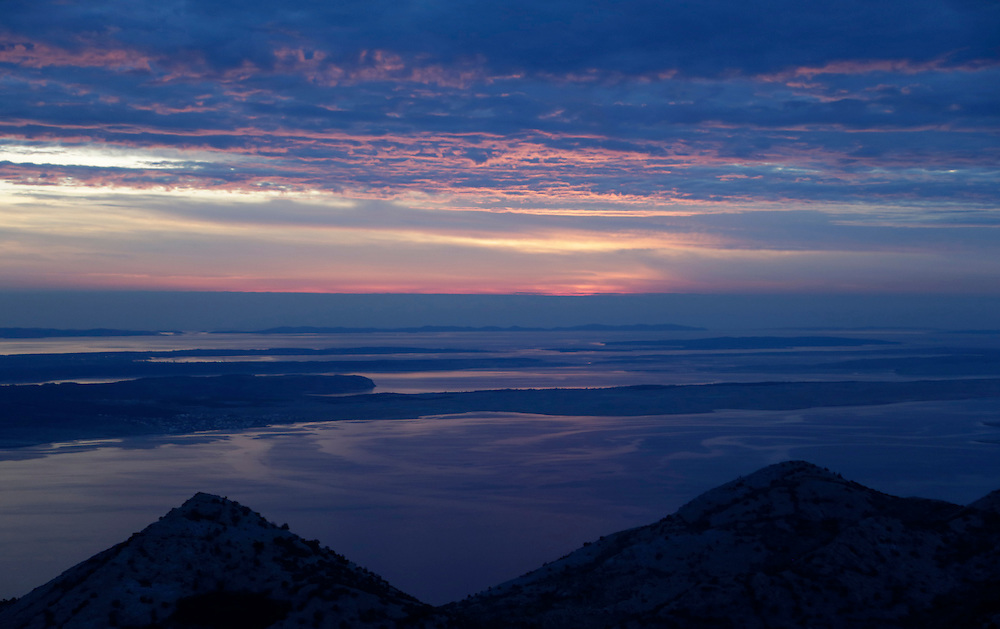 Sunset view from top of the climbing route 'Brid za Veliki Cekic', Paklenica National Park, Croatia.