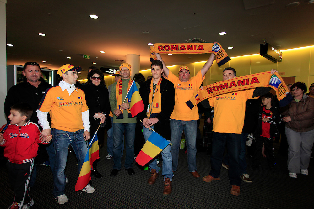 Supporters waiting to welcome the Romanian Rugby team's arrival at the International Airport, Christchurch, New Zealand, Thursday, September 01, 2011.  Credit:SNPA / Pam Johnson