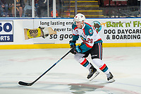 KELOWNA, CANADA - JANUARY 4: Nolan Foote #29 of the Kelowna Rockets skates with the puck during the shoot out against the Prince George Cougars  on January 4, 2019 at Prospera Place in Kelowna, British Columbia, Canada.  (Photo by Marissa Baecker/Shoot the Breeze)