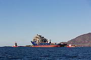 The hull Rem Ocean under towing from Kleven Ulsteinvik to Kleven Myklebust in Gurskebotnen, Norway | Skroget Rem Ocean under tauing fra Kleven Verft i Ulsteinvik, til Kleven Myklebust i Gurskebotnen.