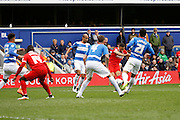 Charlton Athletic midfielder Jordan Cousins (8) scores a goal during the Sky Bet Championship match between Queens Park Rangers and Charlton Athletic at the Loftus Road Stadium, London, England on 9 April 2016. Photo by Andy Walter.
