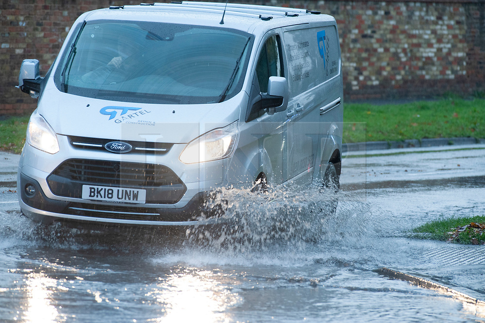 © Licensed to London News Pictures. 01/11/2018. Pettswood, UK. A wet weather morning for drivers as over night rain floods some roads in Pettswood. Photo credit: Grant Falvey/LNP
