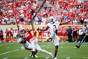TAMPA, FL - JANUARY 1: Jonathan Jones #3 and Jonathon Mincy #6 of the Auburn Tigers break up a pass intended for Alex Erickson #86 of the Wisconsin Badgers during the Outback Bowl at Raymond James Stadium on January 1, 2015 in Tampa, Florida. (Photo by Joe Robbins)