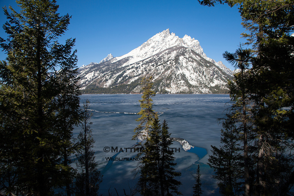 Partially Frozen Jenny Lake with reflections of the Tetons