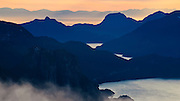 Howe Sound at sunset, the view from the Elfin Lakes trail.