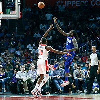 09 December 2017: LA Clippers forward Montrezl Harrell (5) is fouled by Washington Wizards center Ian Mahinmi (28) during the LA Clippers 113-112 victory over the Washington Wizards, at the Staples Center, Los Angeles, California, USA.