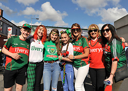 Some of the Sheehy and Campbell families from Derrens Achill at the All Ireland Football Final<br /> Pic Conor McKeown