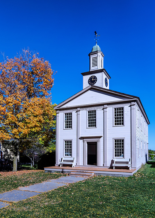 Historic Town Hall, 1822, Genesee Country Village and Museum, Mumford, New York, USA.