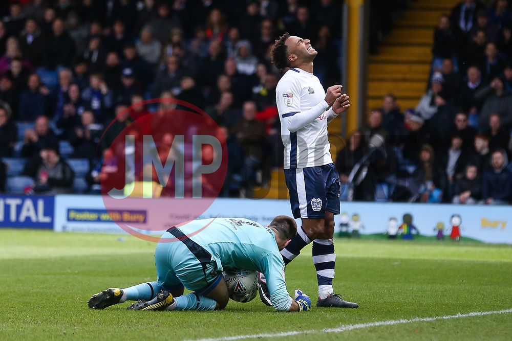 Nicky Maynard of Bury rues a late missed chance - Mandatory by-line: JMP - 04/05/2019 - FOOTBALL - Gigg Lane - Bury, England - Bury v Port Vale - Sky Bet League Two