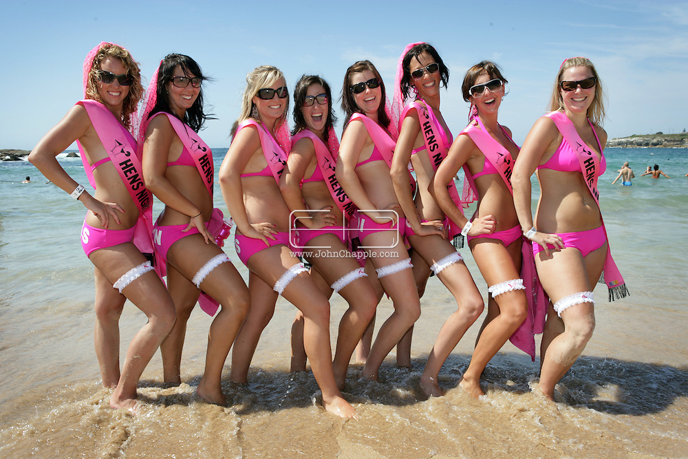 24th February 2007. Sydney, NSW. The Slam Fest Volley Ball contest on Coogee Beach, pictured are team 'The Hens'. The massive fancy dress volleyball tournament attracted over a thousand entries. .PHOTO © JOHN CHAPPLE / REBEL IMAGES. .john@chapple.biz.www.chapple.biz.