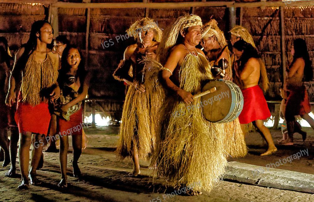Yagua Ceremonial dance inside the Maloca, Amazon River, Peru