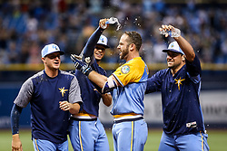 June 10, 2017 - St. Petersburg, Florida, U.S. - WILL VRAGOVIC       Times.Tampa Bay Rays third baseman Evan Longoria (3) with a walkoff single to end the first game of the double header between the Tampa Bay Rays and the Oakland Athletics at Tropicana Field in St. Petersburg, Fla. on Saturday, June 10, 2017. The Tampa Bay Rays beat the Oakland Athletics 6-5. (Credit Image: © Will Vragovic/Tampa Bay Times via ZUMA Wire)