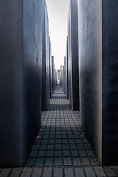 View inside Holocaust Memorial in Mitte Berlin Germany