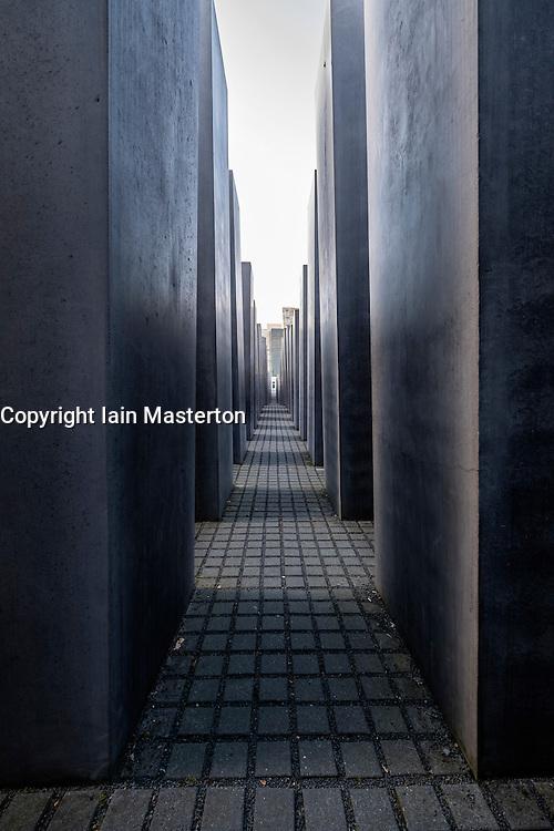 View inside Holocaust Memorial in Mitte Berlin Germany