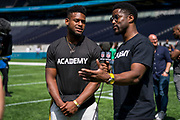 JuJu Smith-Schuster (WR, Pittsburgh Steelers) interviews with Nate Burleson (NFL Good Morning Football show) during the NFL Media Day held at Tottenham Hotspur Stadium, London, United Kingdom on 2 July 2019.