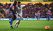 Marcos Rojo and Yannick Bolasie battle for the loose ball during the Barclays Premier League match between Crystal Palace and Manchester United at Selhurst Park, London, England on 31 October 2015. Photo by Michael Hulf.