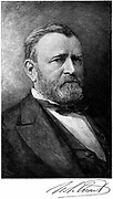 Ulysses Simpson Grant (1822-1885) American soldier; 18th president of USA, in Civil War commander of Unionist (northern) forces from 1864. American Civil War 1861-1865. Signature. Engraving