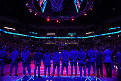 October 19, 2018 - Minneapolis, MN, USA - Minnesota Timberwolves players stand for the national anthem prior to the start of play against the Cleveland Cavaliers on Friday, Oct. 19, 2018, at the Target Center in Minneapolis. (Credit Image: © Anthony Souffle/Minneapolis Star Tribune/TNS via ZUMA Wire)