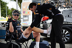 Elisa Longo Borghini (ITA) gets a pre-race massage at Grand Prix de Plouay - Lorient Agglomération WNT 2018. A 125.5 km road race in Plouay, France on August 25, 2018. Photo by Sean Robinson/velofocus.com
