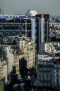 France. Paris elevated view from Notre dame cathedral. Beaubourg museum and Paris cente. view from the spire of Notre dame cathedral