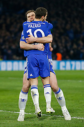 Eden Hazard of Chelsea celebrates with Branislav Ivanovic after scoring a goal from the penalty spot to make it 2-1 - Photo mandatory by-line: Rogan Thomson/JMP - 07966 386802 - 11/03/2015 - SPORT - FOOTBALL - London, England - Stamford Bridge - Chelsea v Paris Saint-Germain - UEFA Champions League Round of 16 Second Leg.