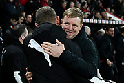 AFC Bournemouth manager Eddie Howe gives Luton Town manager Graeme Jones a hug ahead of the the The FA Cup match between Bournemouth and Luton Town at the Vitality Stadium, Bournemouth, England on 4 January 2020.