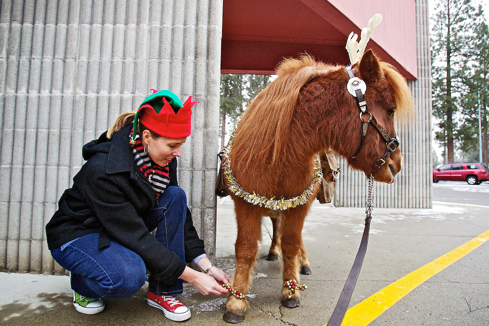 "Kathy Baker, principal of Ponderosa Elementary School, secures bells to the feet of a ""reindeer in training"" before taking it on a tour of the Post Falls' school Friday."
