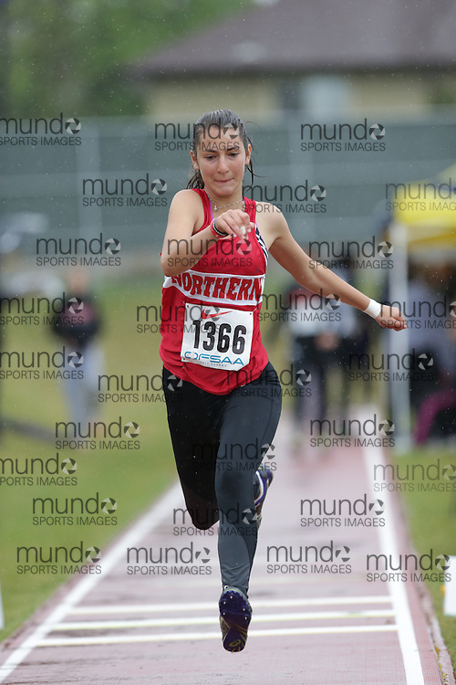 Catherine Petolescu of Northern SS - Toronto competes in the junior girls triple jump at the 2013 OFSAA Track and Field Championship in Oshawa Ontario, Thursday,  June 6, 2013.<br /> Mundo Sport Images / Sean Burges