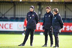 NEWPORT, WALES - Tuesday, November 6, 2018: Wales' Women's national team manager Jayne Ludlow, assistant coach Lauren Smith and academy coach Claire O'Sullivan  during a training session at Dragon Park ahead of two games against Portugal. (Pic by Paul Greenwood/Propaganda)